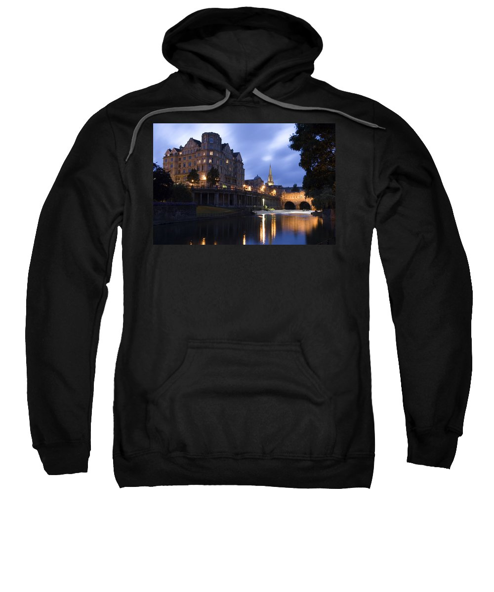 Bath Sweatshirt featuring the photograph Bath City Spa Viewed Over The River Avon At Night by Mal Bray