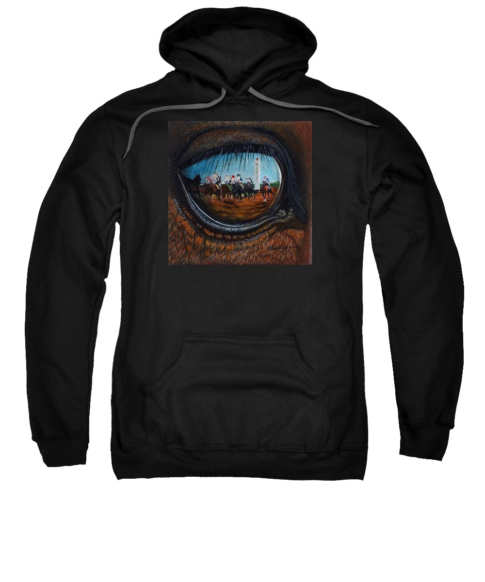 Horse Sweatshirt featuring the painting Birds Eye View by Sherryl Lapping
