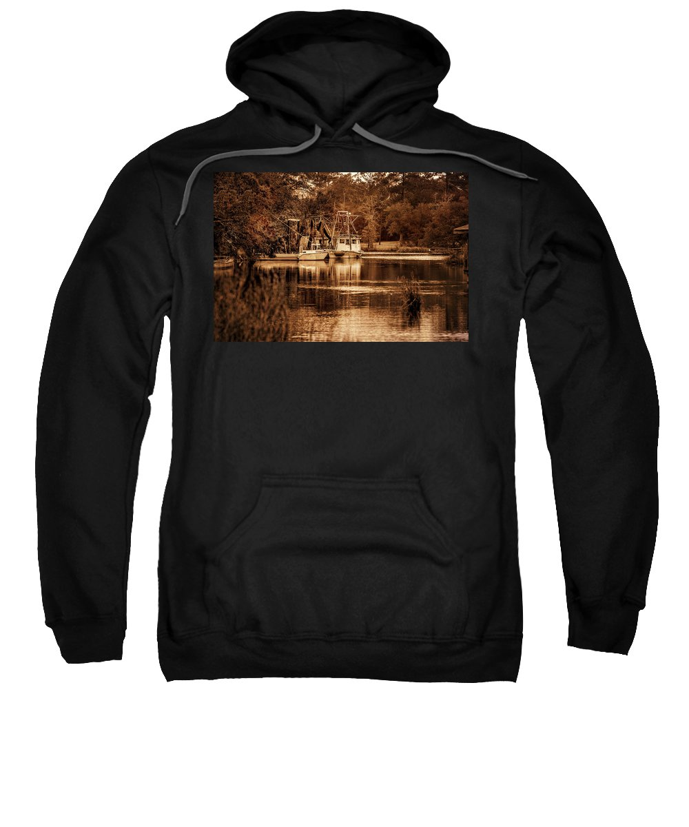 Palm Sweatshirt featuring the digital art 2 Boats On The Bon Secour Sepia by Michael Thomas