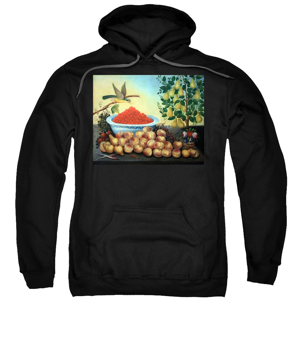 Still Life Bird And Dwarf Pear Tree Sweatshirt featuring the photograph Bond's Still Life Of Bird And Dwarf Pear Tree by Cora Wandel