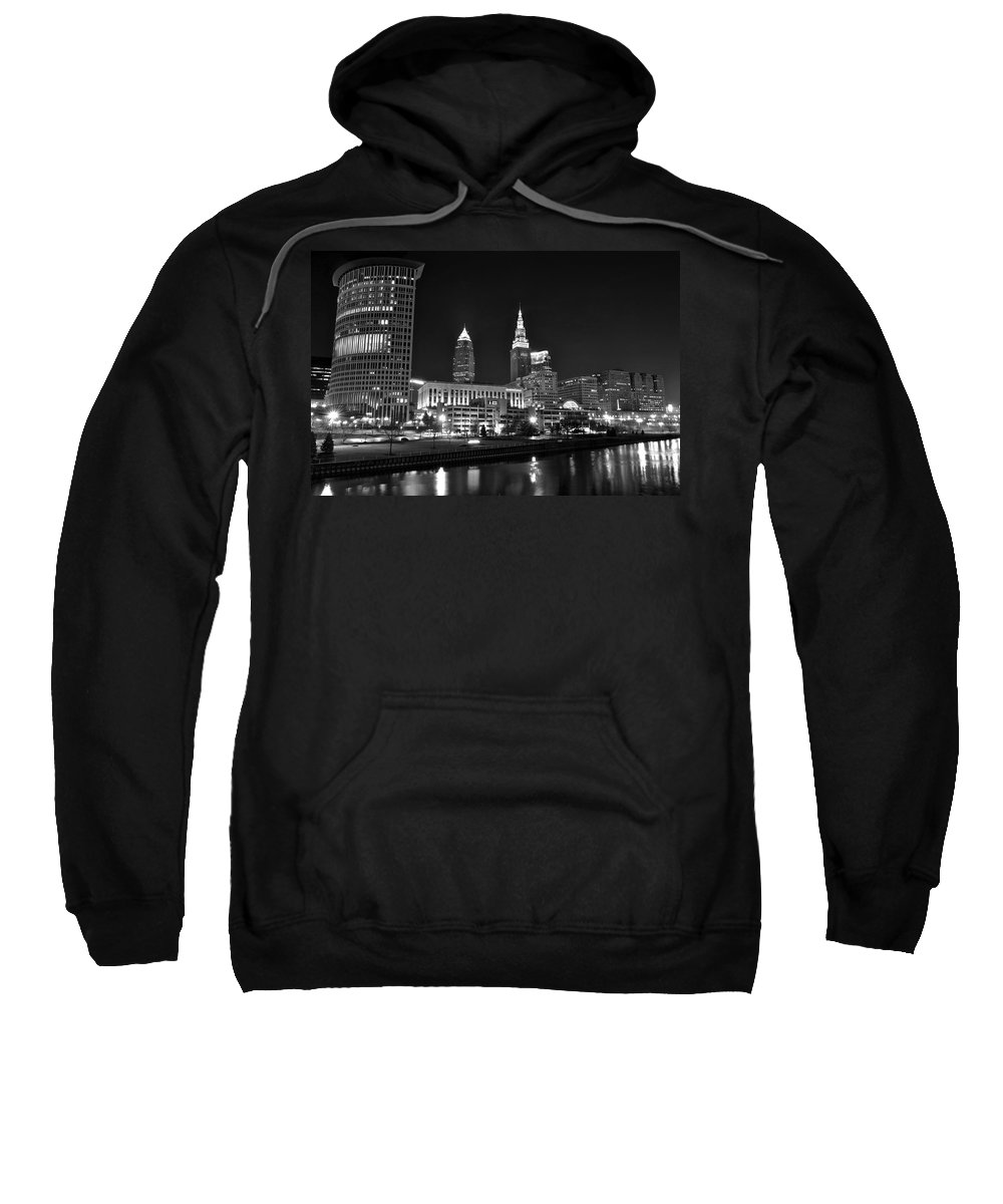 Cleveland Sweatshirt featuring the photograph Cleveland In Black And White by Frozen in Time Fine Art Photography