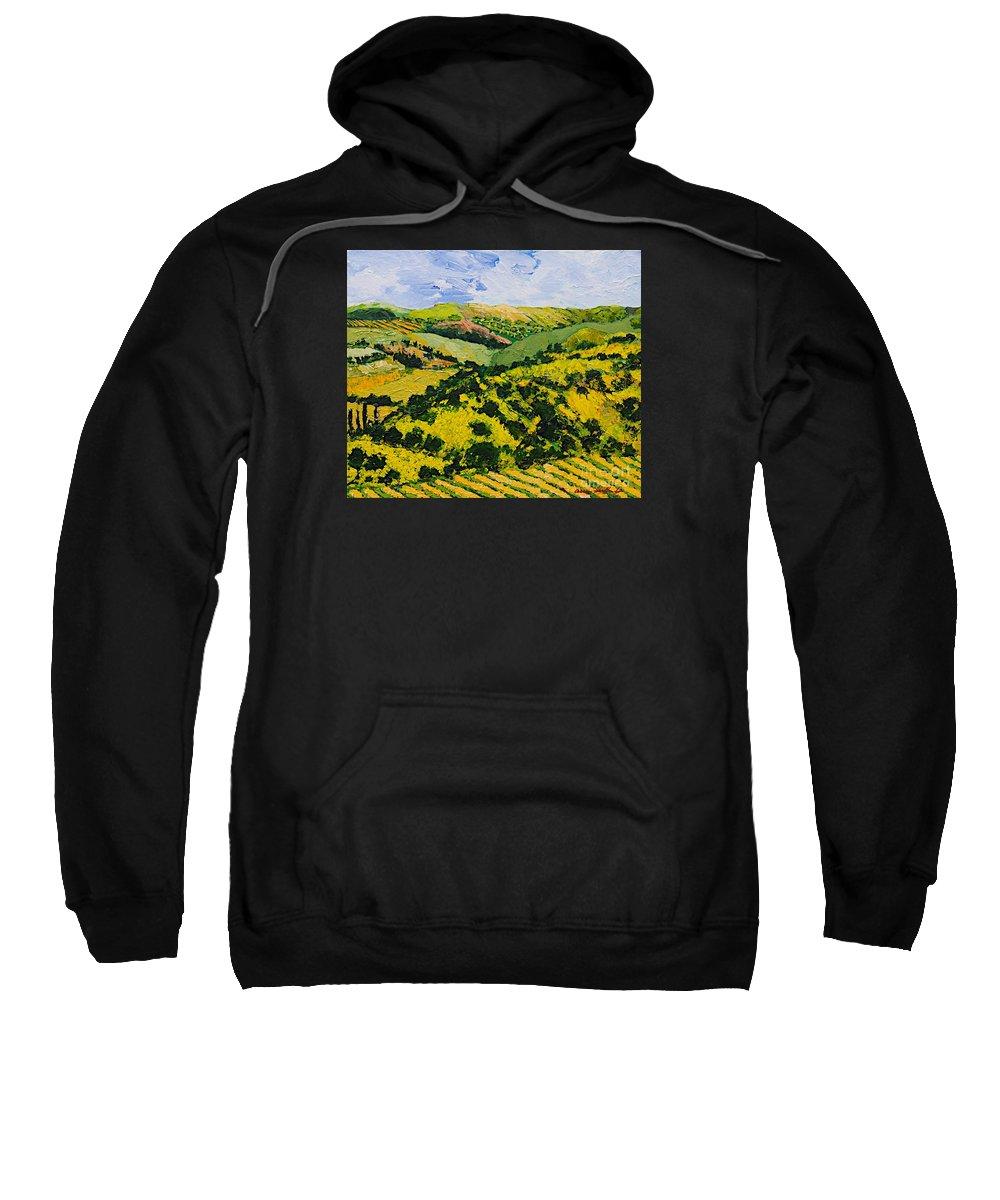 Landscape Sweatshirt featuring the painting Deep Valley by Allan P Friedlander