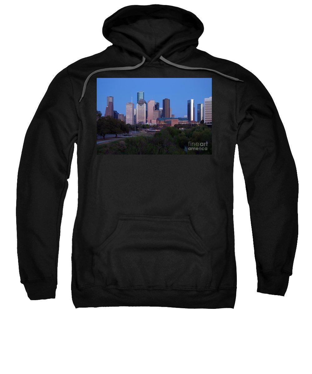 Houston Sweatshirt featuring the photograph Houston Skyline At Dusk by Bill Cobb
