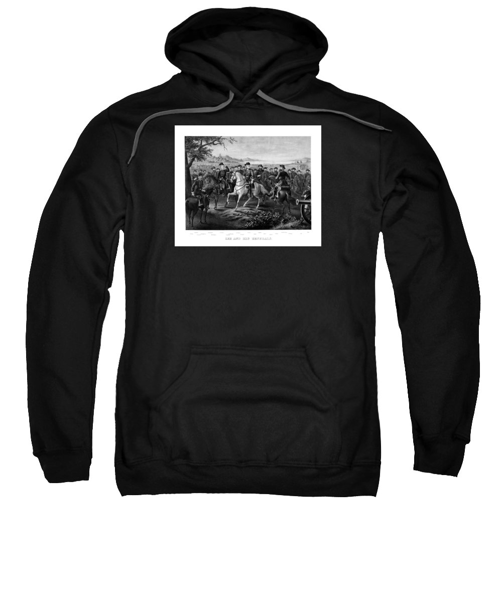 Robert E Lee Sweatshirt featuring the painting Lee And His Generals by War Is Hell Store