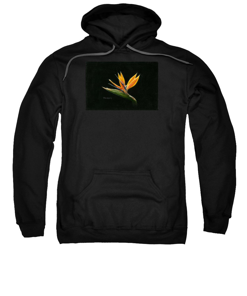 Bird Of Paradise Sweatshirt featuring the painting Midnight Paradise by Sherryl Lapping