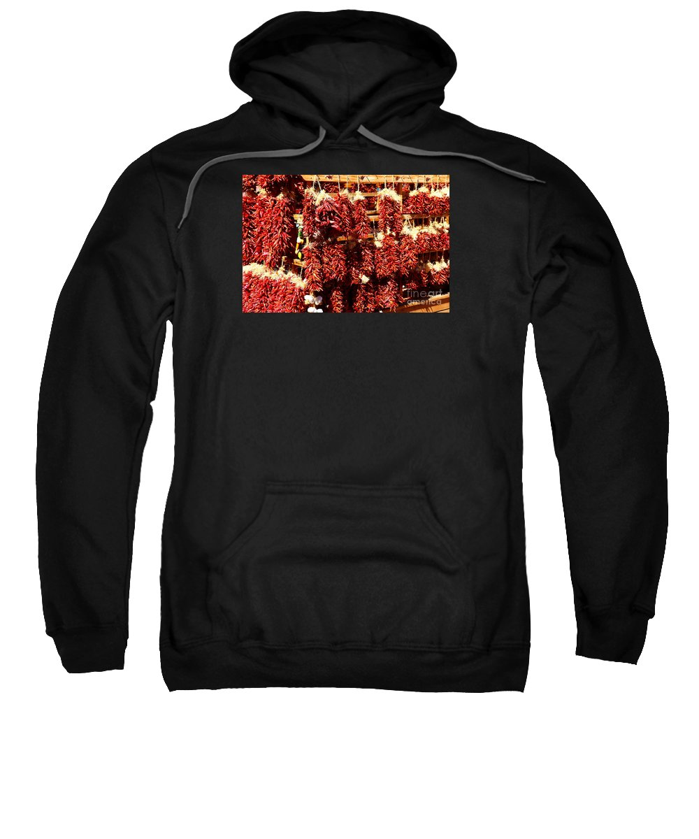 Chile Sweatshirt featuring the photograph New Mexico Red Chili Ristra And Gralic by Christiane Schulze Art And Photography