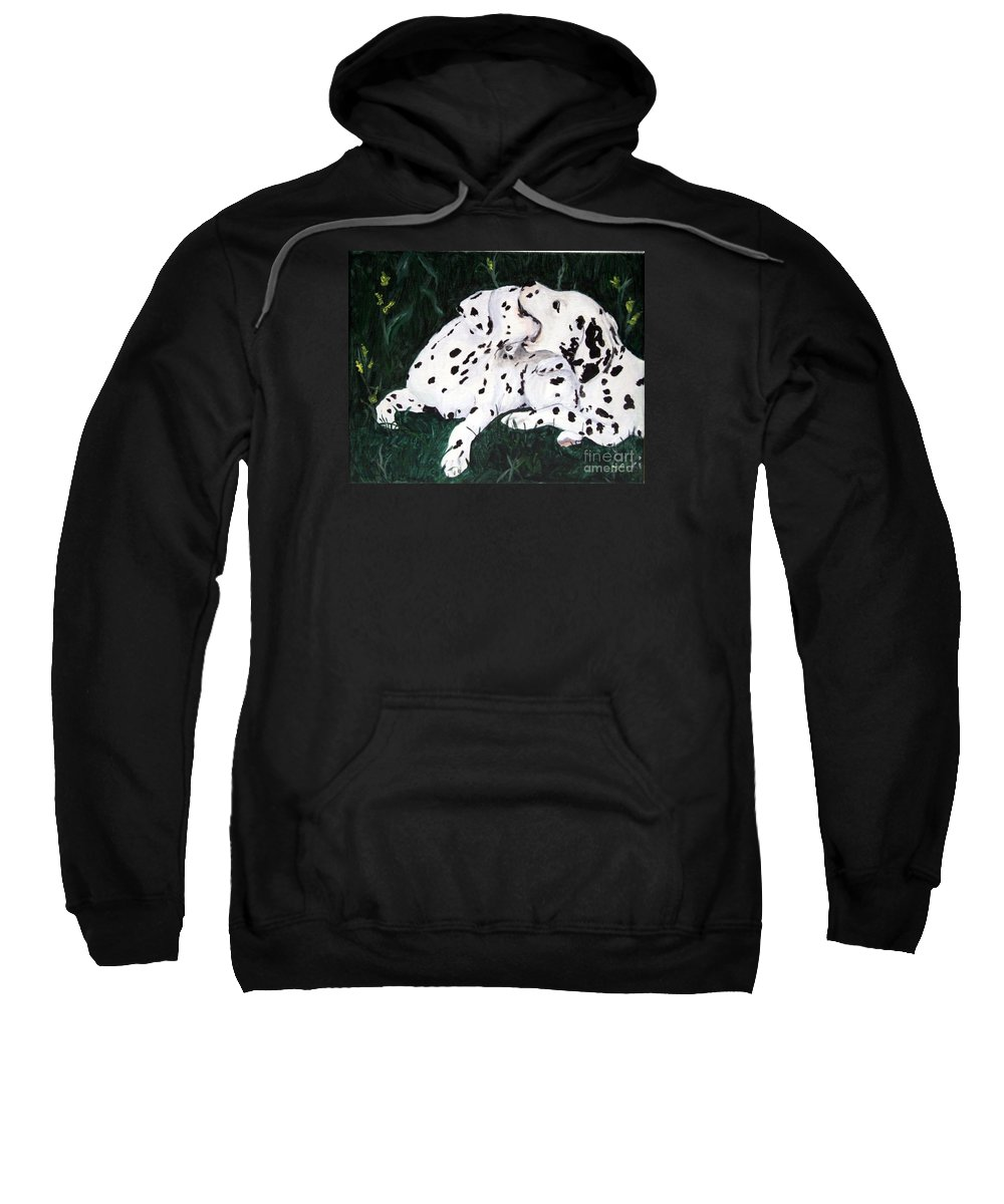 Dogs Sweatshirt featuring the painting Playful Pups by Jacki McGovern