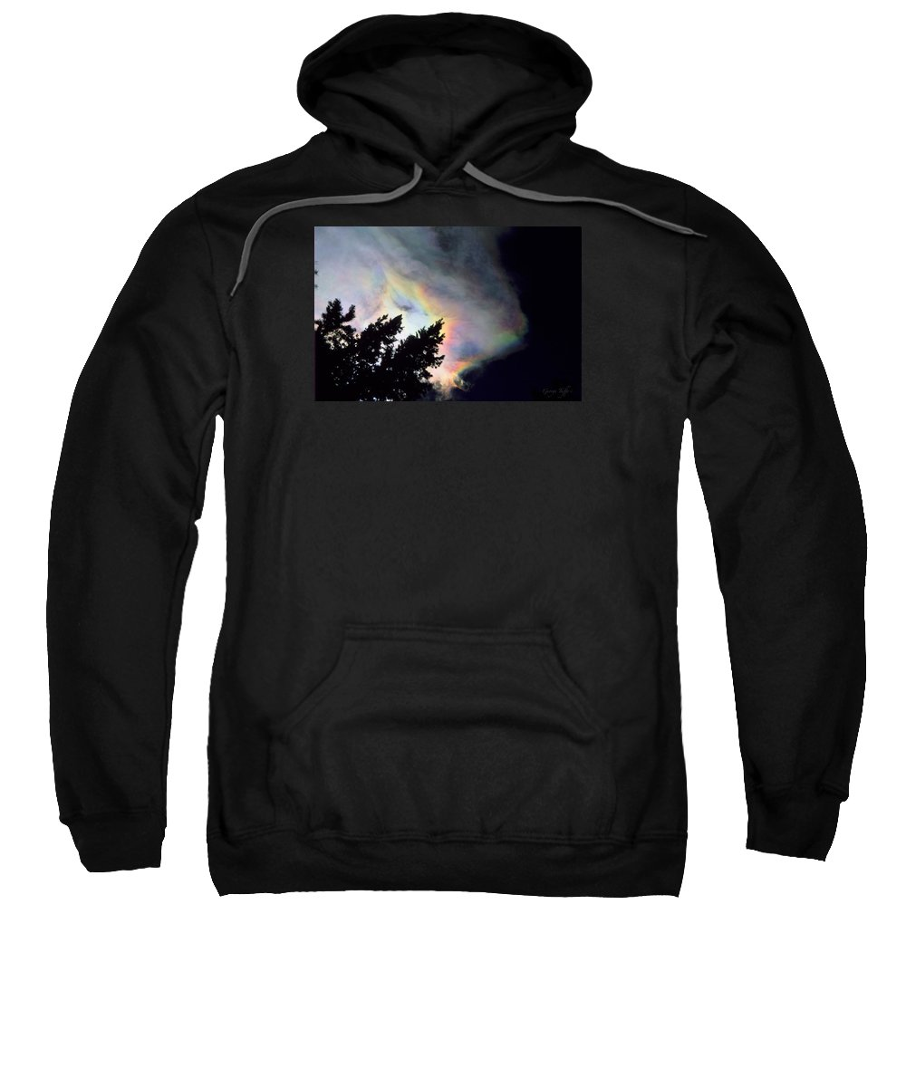 Rainbowcloud Winter Tree Nature Colorado Rocky Mountains Zen Simple Sweatshirt featuring the photograph Rainbow Cloud by George Tuffy