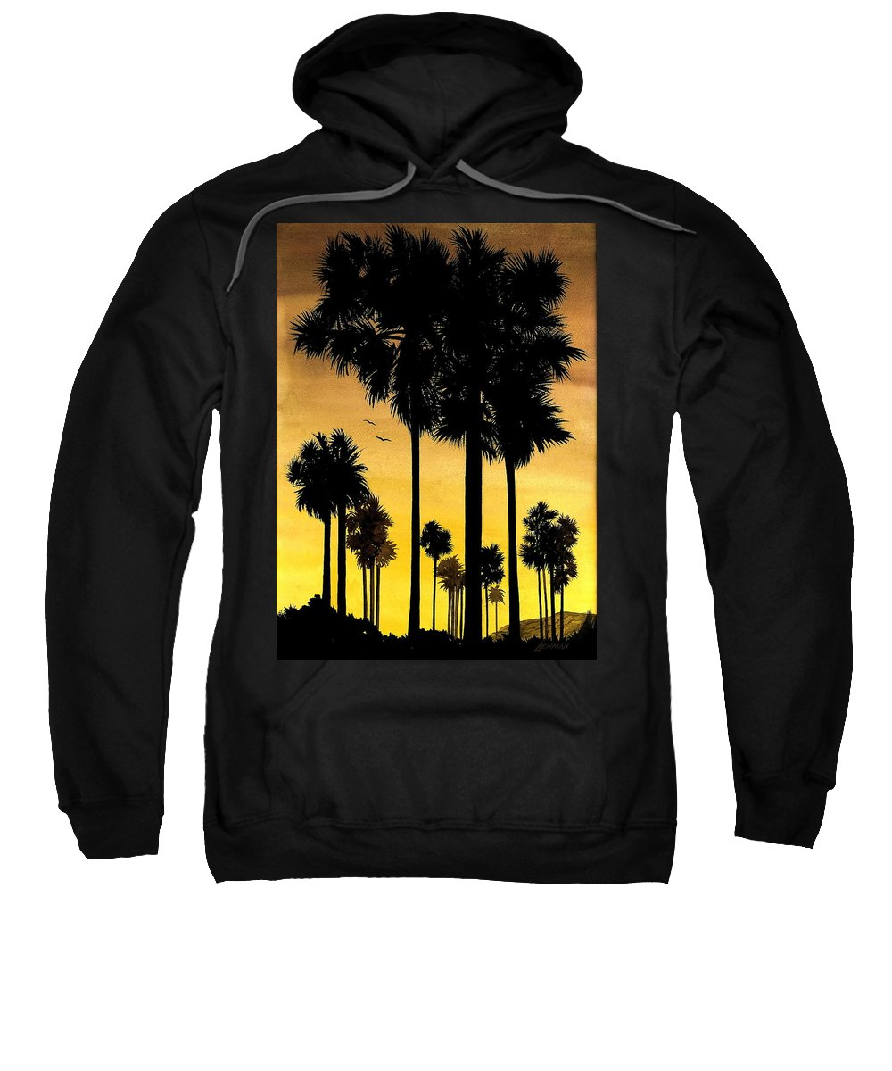 San Diego Sunset Sweatshirt featuring the painting San Diego Sunset by Larry Lehman