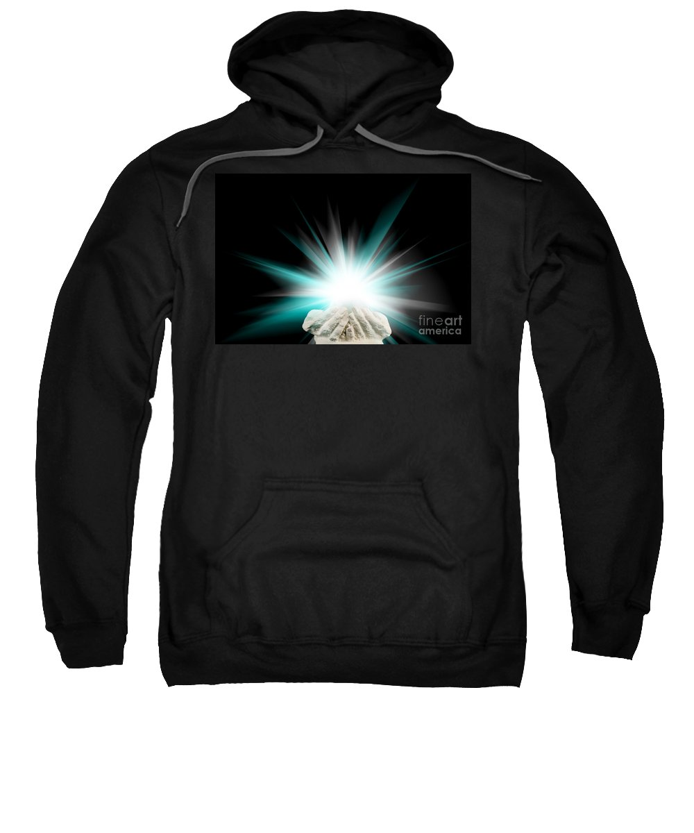 Spiritual Sweatshirt featuring the photograph Spiritual Light In Cupped Hands On A Black Background by Simon Bratt Photography LRPS