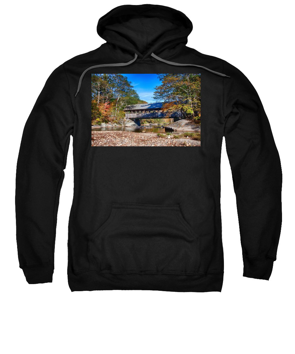 Artist Covered Bridge Sweatshirt featuring the photograph Sunday River Covered Bridge by Jeff Folger