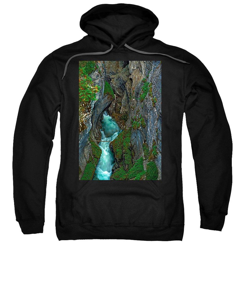 Johnston Canyon Sweatshirt featuring the photograph The Flow by Steve Harrington