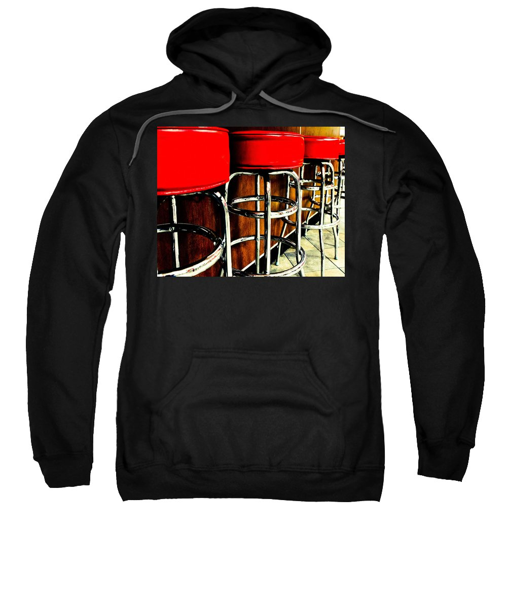Bar Stools Sweatshirt featuring the photograph Waiting For Norm by Digital Kulprits