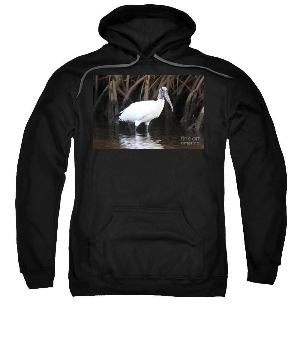 Wood Stork Sweatshirt featuring the photograph Wood Stork In The Swamp by Christiane Schulze Art And Photography