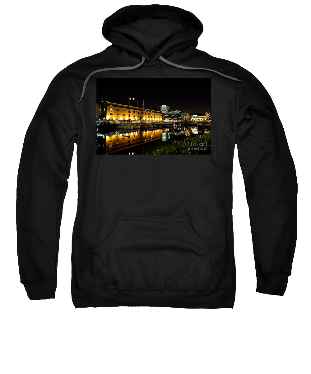 Pub Sweatshirt featuring the photograph St Katherines Dock London by David Pyatt