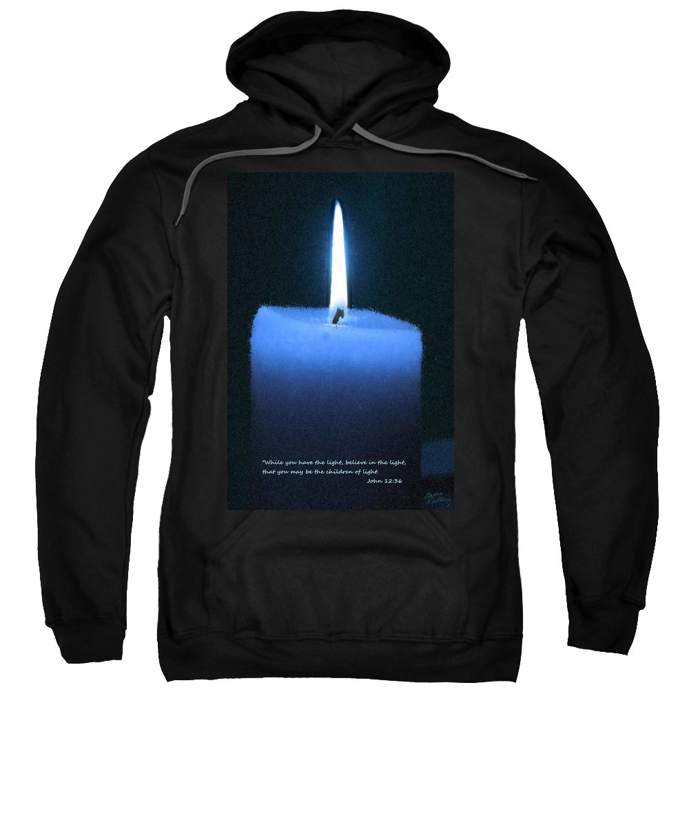 Blue Sweatshirt featuring the painting Believe In The Light by Bruce Nutting