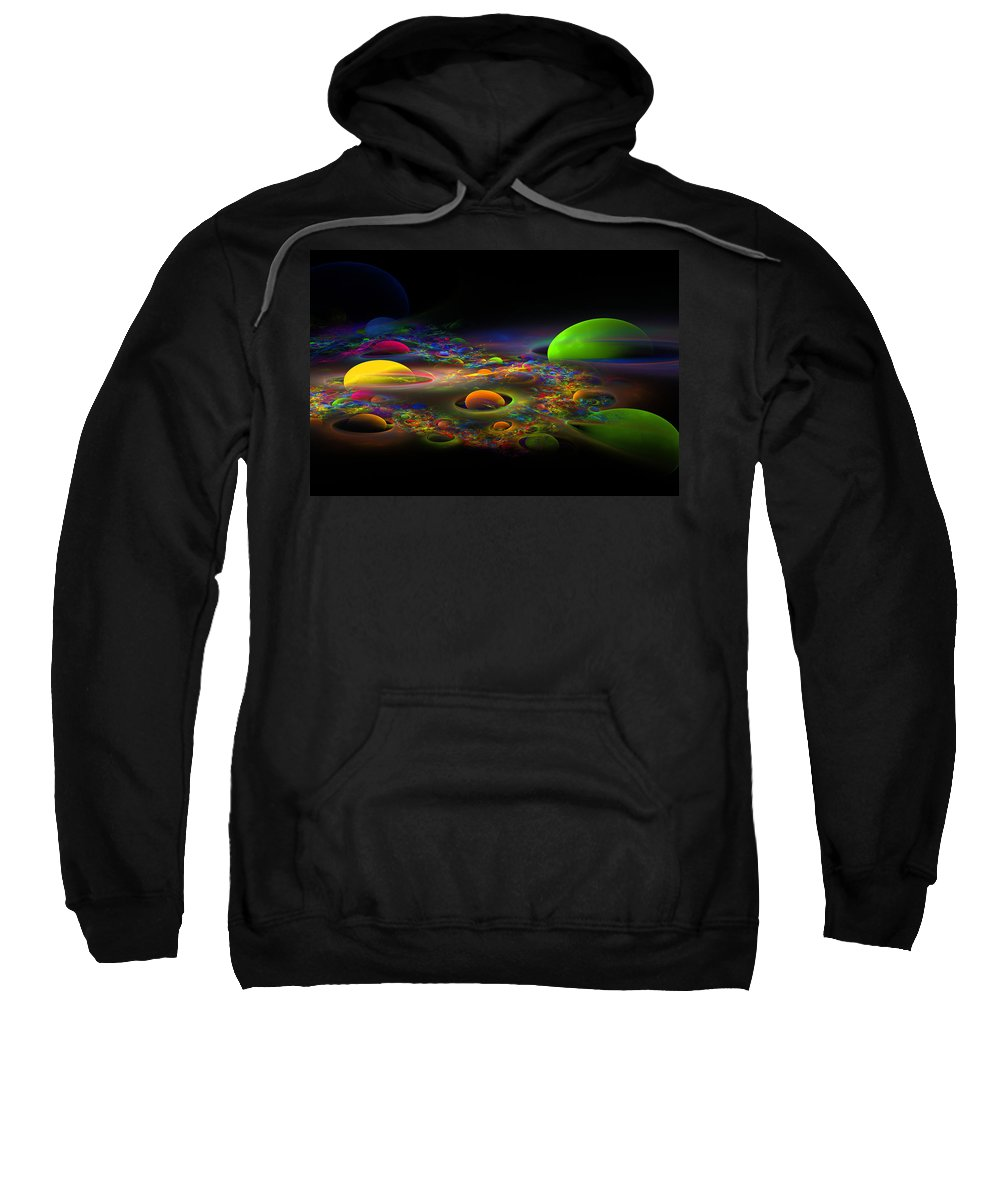 Green Sweatshirt featuring the photograph Computer Generated Spheres Abstract Fractal Flame Art by Keith Webber Jr