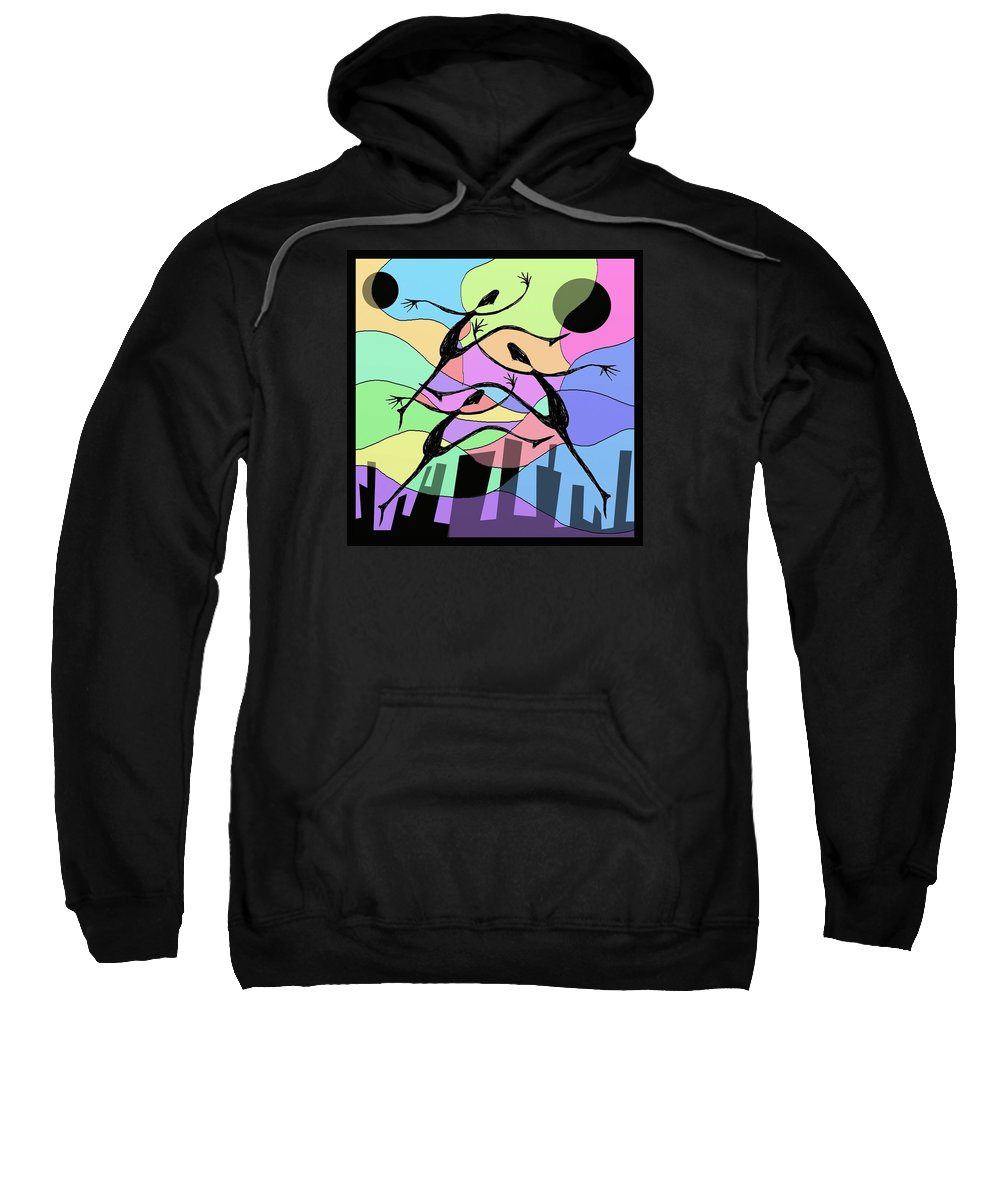 Abstract Sweatshirt featuring the digital art 3 Dancers by David Michael Schmidt