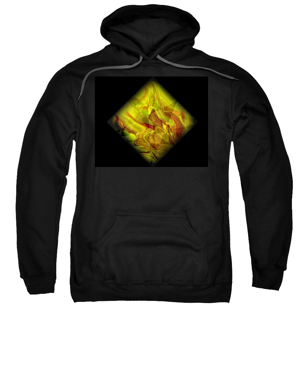 Symmetrical Sweatshirt featuring the painting Diamond 105 by J D Owen