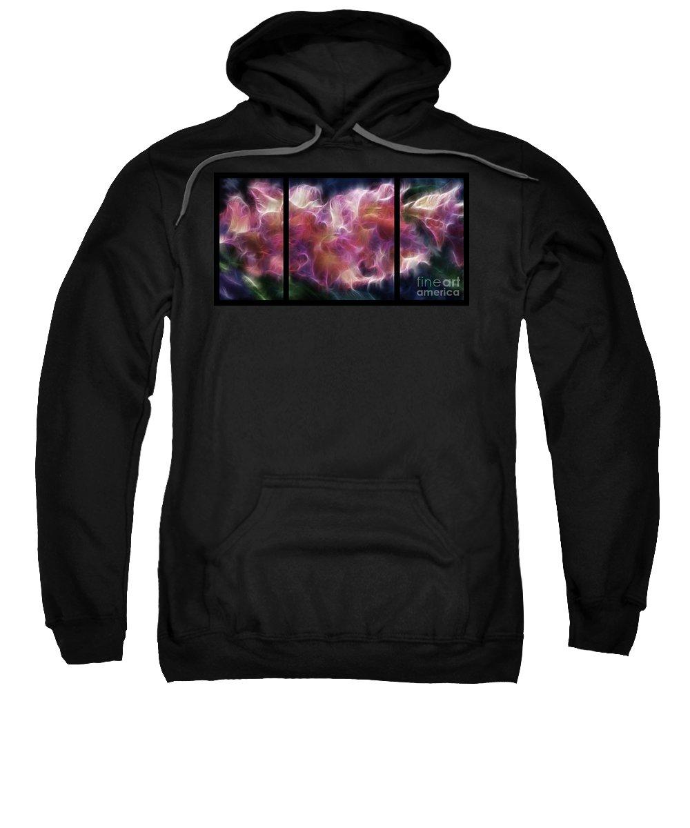Gladiola Sweatshirt featuring the digital art Gladiola Nebula Triptych by Peter Piatt