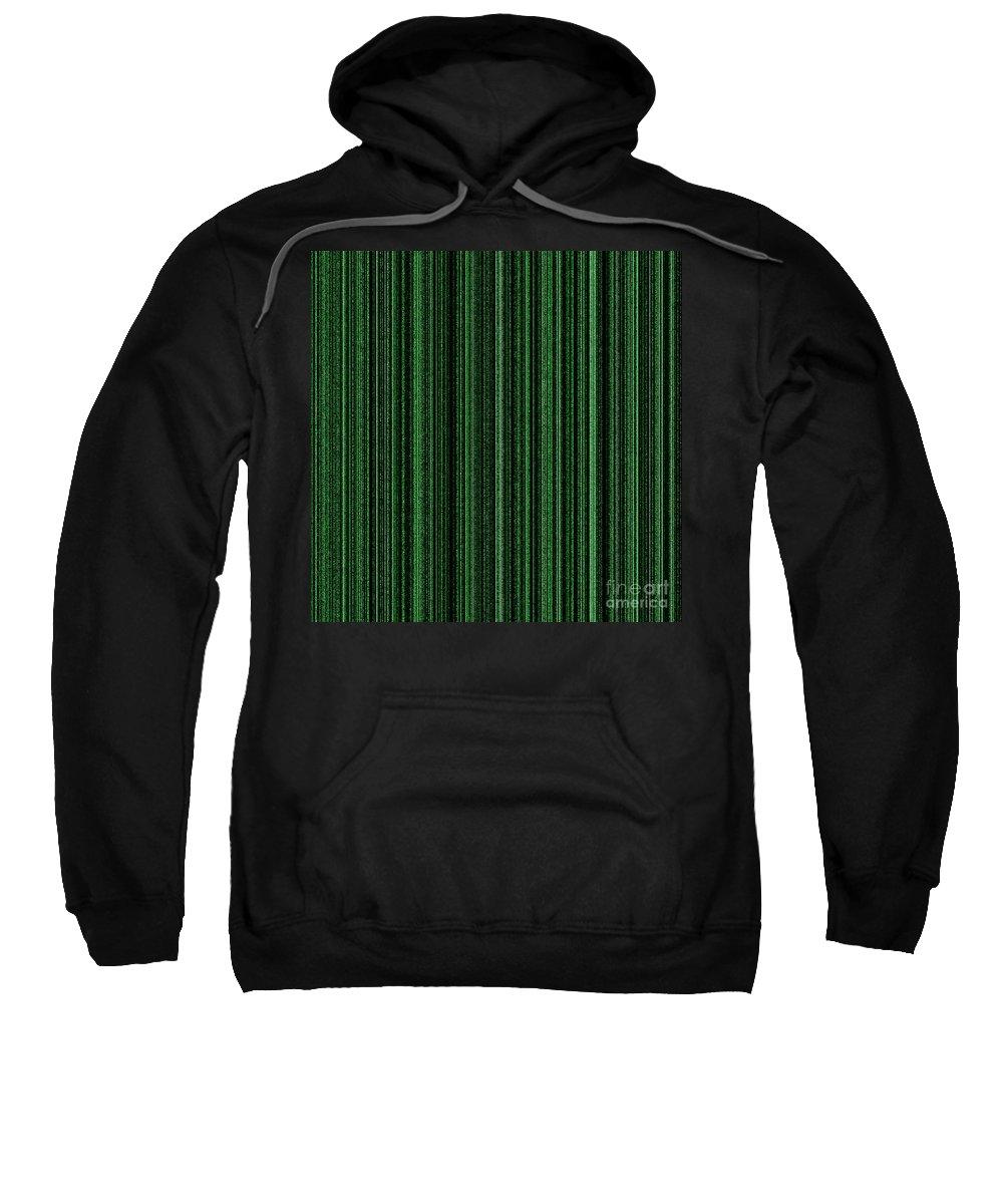 Green Sweatshirt featuring the digital art Matrix Green by Henrik Lehnerer