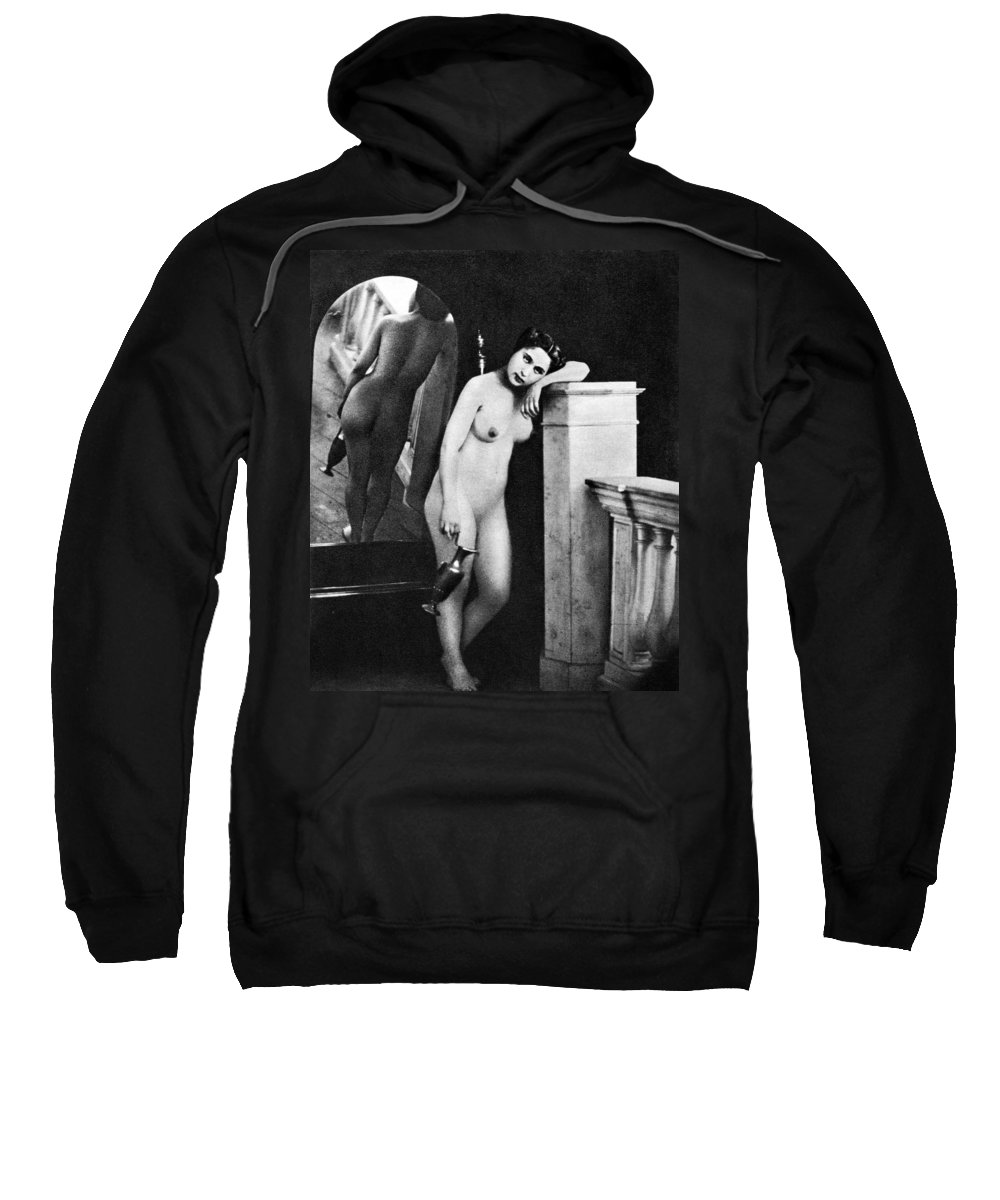 1850 Sweatshirt featuring the photograph Nude Posing, C1850 by Granger