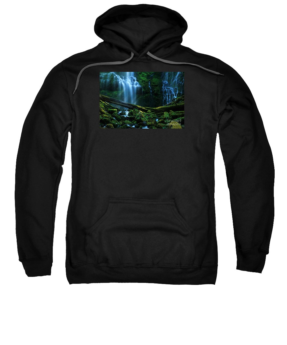 Proxy Falls Sweatshirt featuring the photograph Proxy Falls Oregon by Bob Christopher