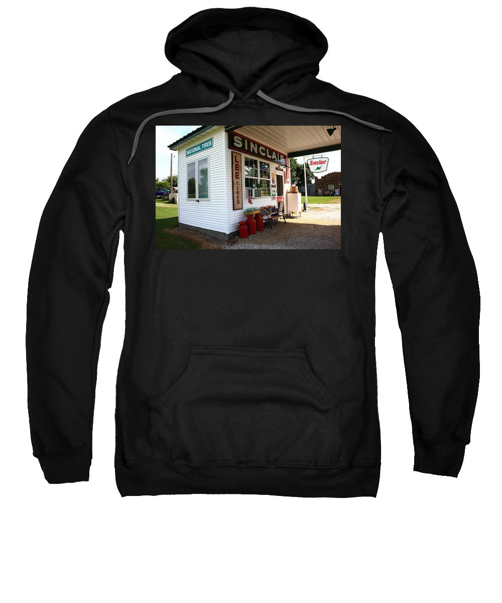 66 Sweatshirt featuring the photograph Route 66 Filling Station by Frank Romeo