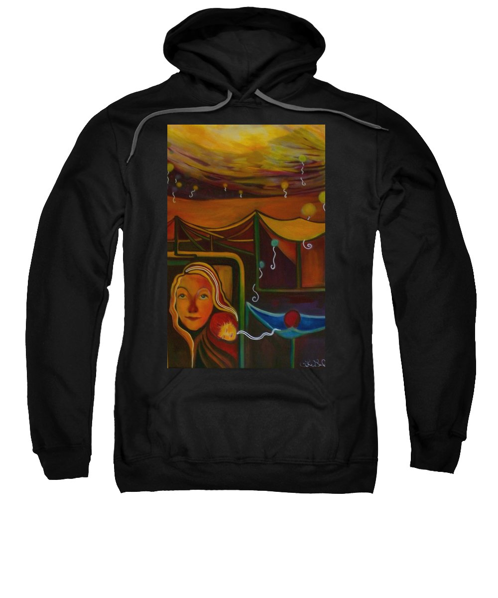 Protection Sweatshirt featuring the painting Safety Net by Carolyn LeGrand