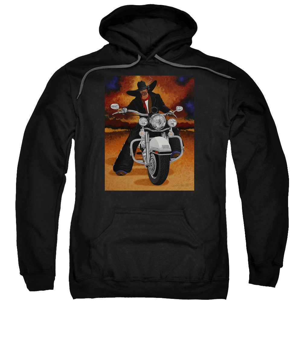 New West Sweatshirt featuring the painting Steel Pony by Lance Headlee