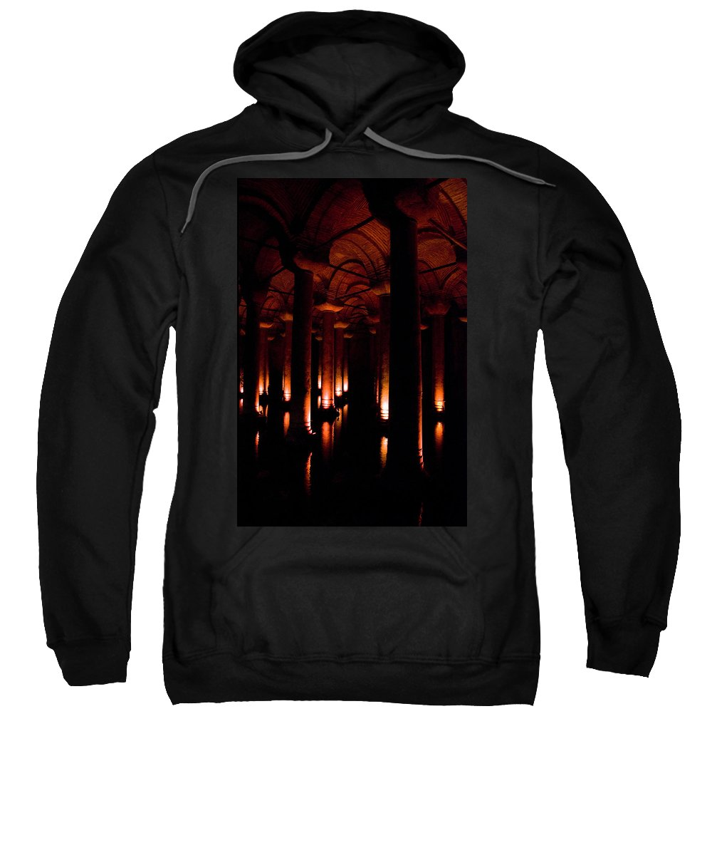 Yerebatan Sweatshirt featuring the digital art Yerebatan Sarayi Cistern Istanbul Turkey  by Dray Van Beeck