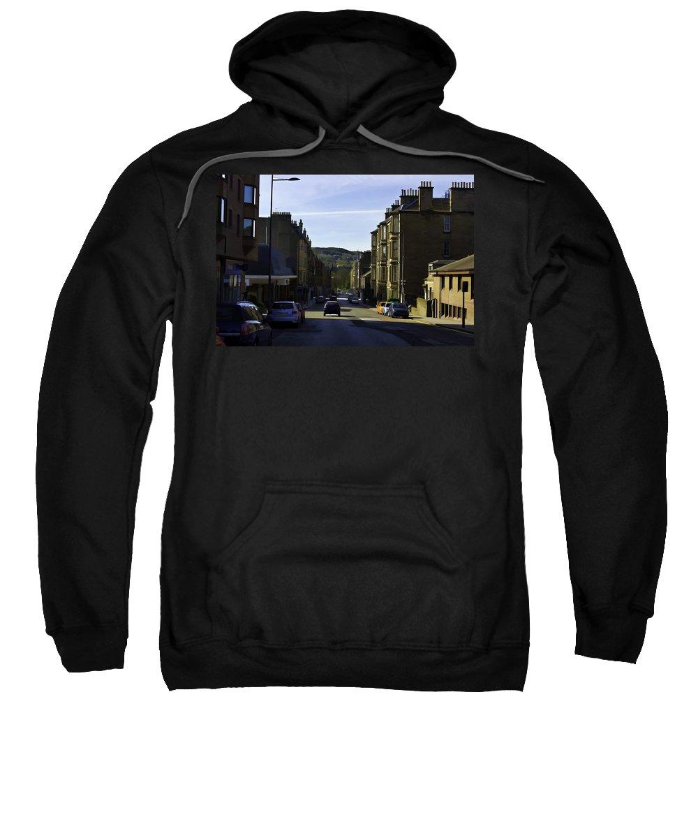 Action Sweatshirt featuring the digital art Car In A Queue Waiting For A Signal In Edinburgh by Ashish Agarwal