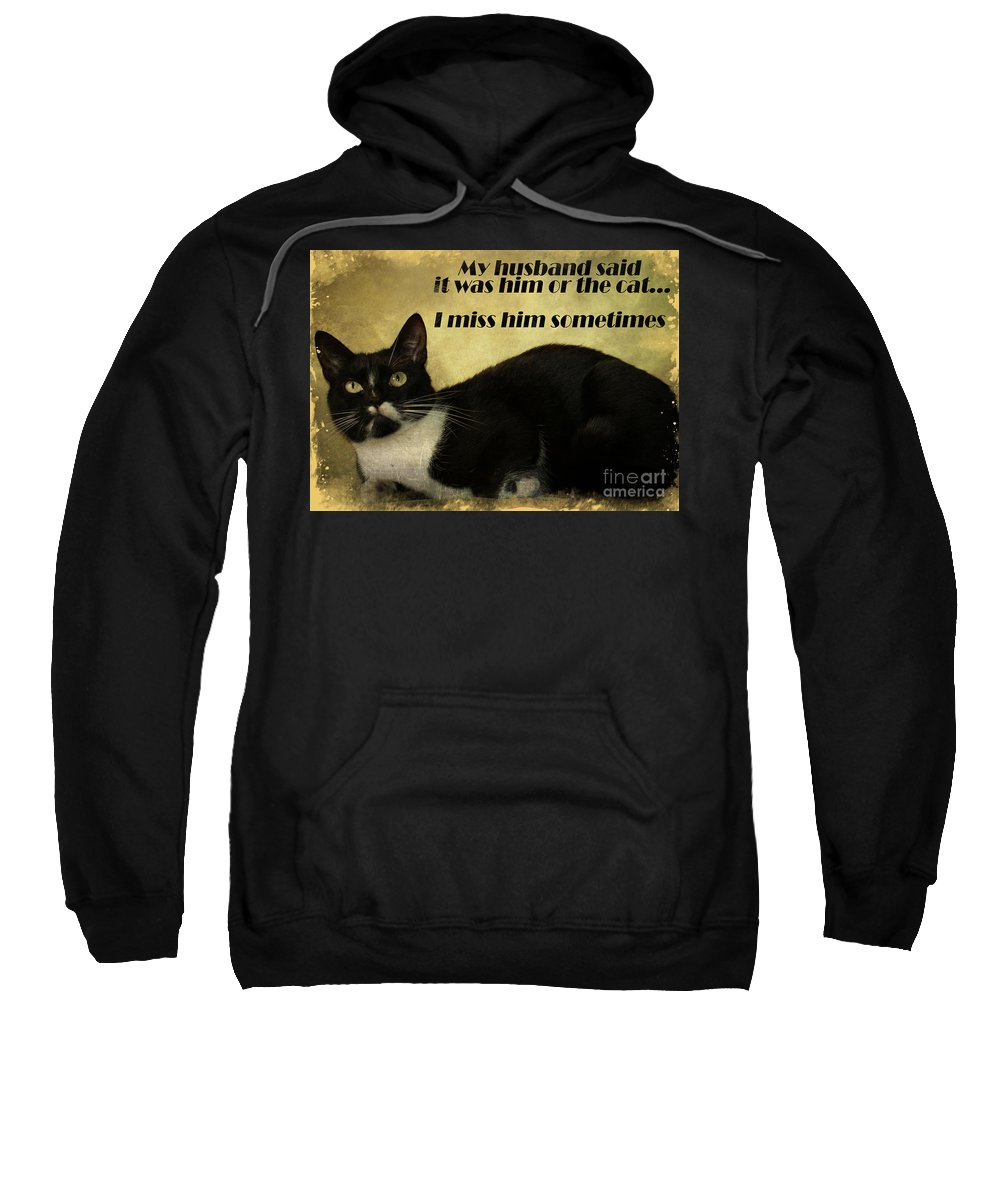 Cat Sweatshirt featuring the photograph Cat by Justyna JBJart