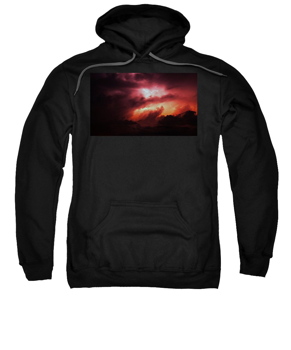 Stormscape Sweatshirt featuring the photograph Dying Storm Cells With Fantastic Lightning by NebraskaSC