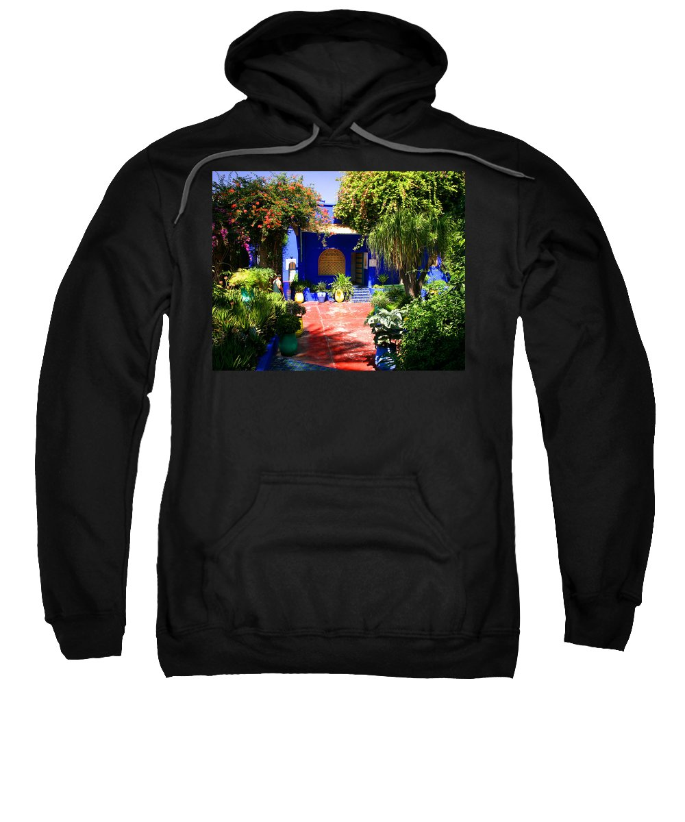 Majorelle Garden Sweatshirt featuring the photograph Majorelle Garden Marrakesh Morocco by Ralph A Ledergerber-Photography