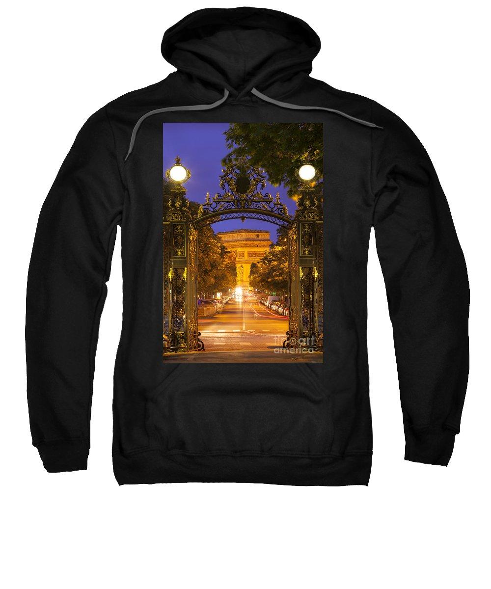 Arc Sweatshirt featuring the photograph Twilight At Arc De Triomphe by Brian Jannsen