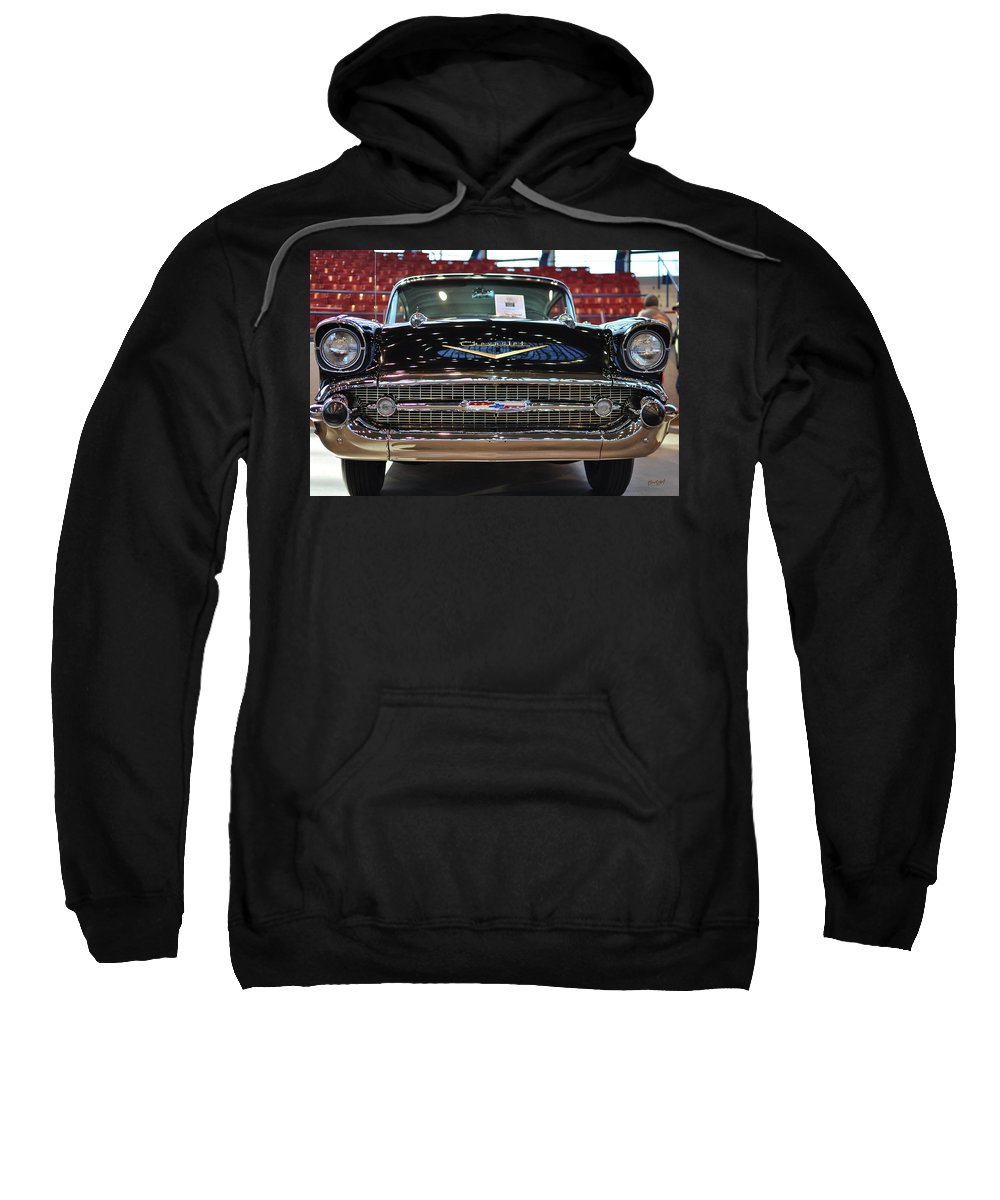 Wright Sweatshirt featuring the photograph '57 Chevy Bel Air Show Car by Paulette B Wright