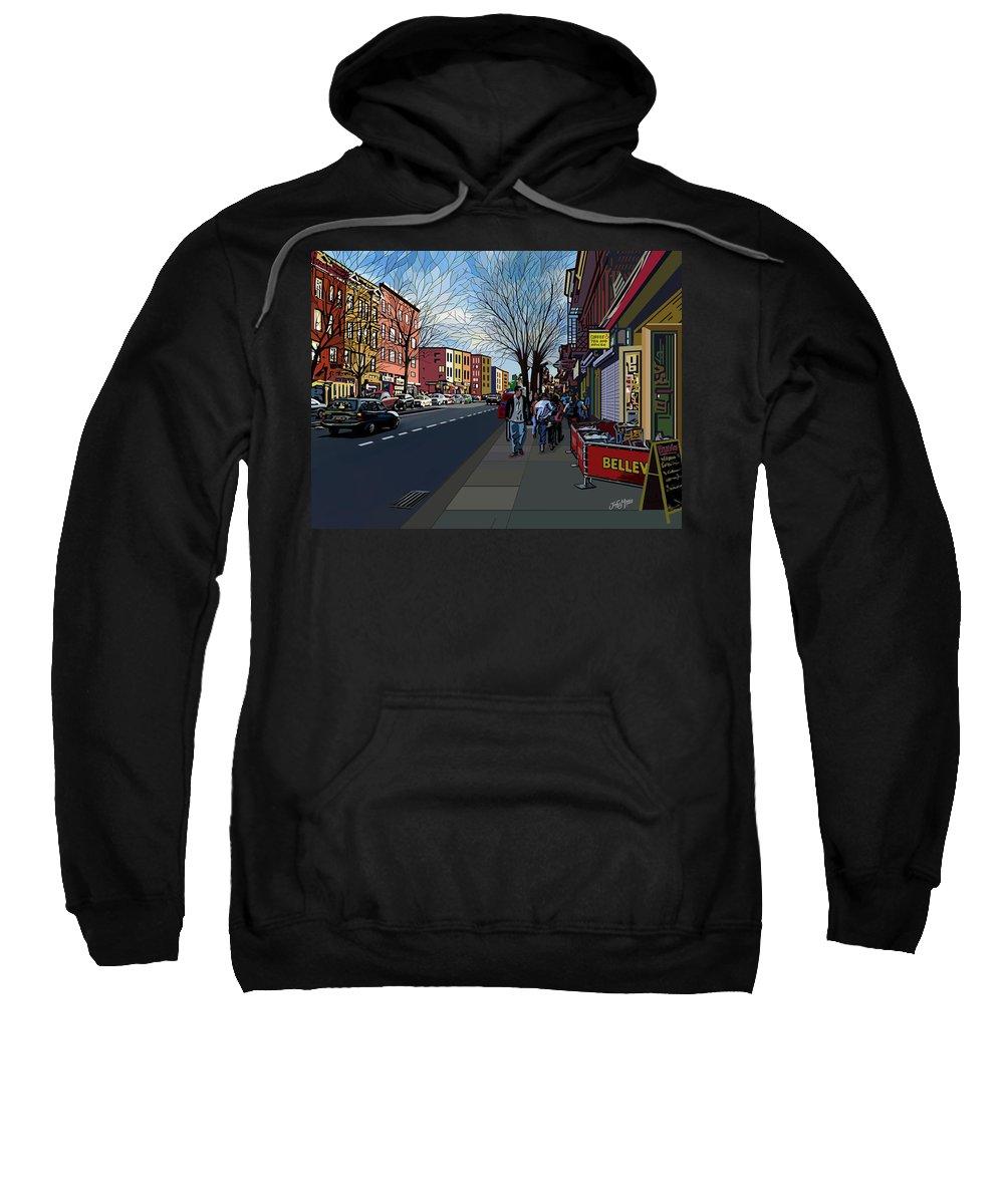 Landscape Sweatshirt featuring the digital art 5th Ave Park Slope Brooklyn by James Mingo