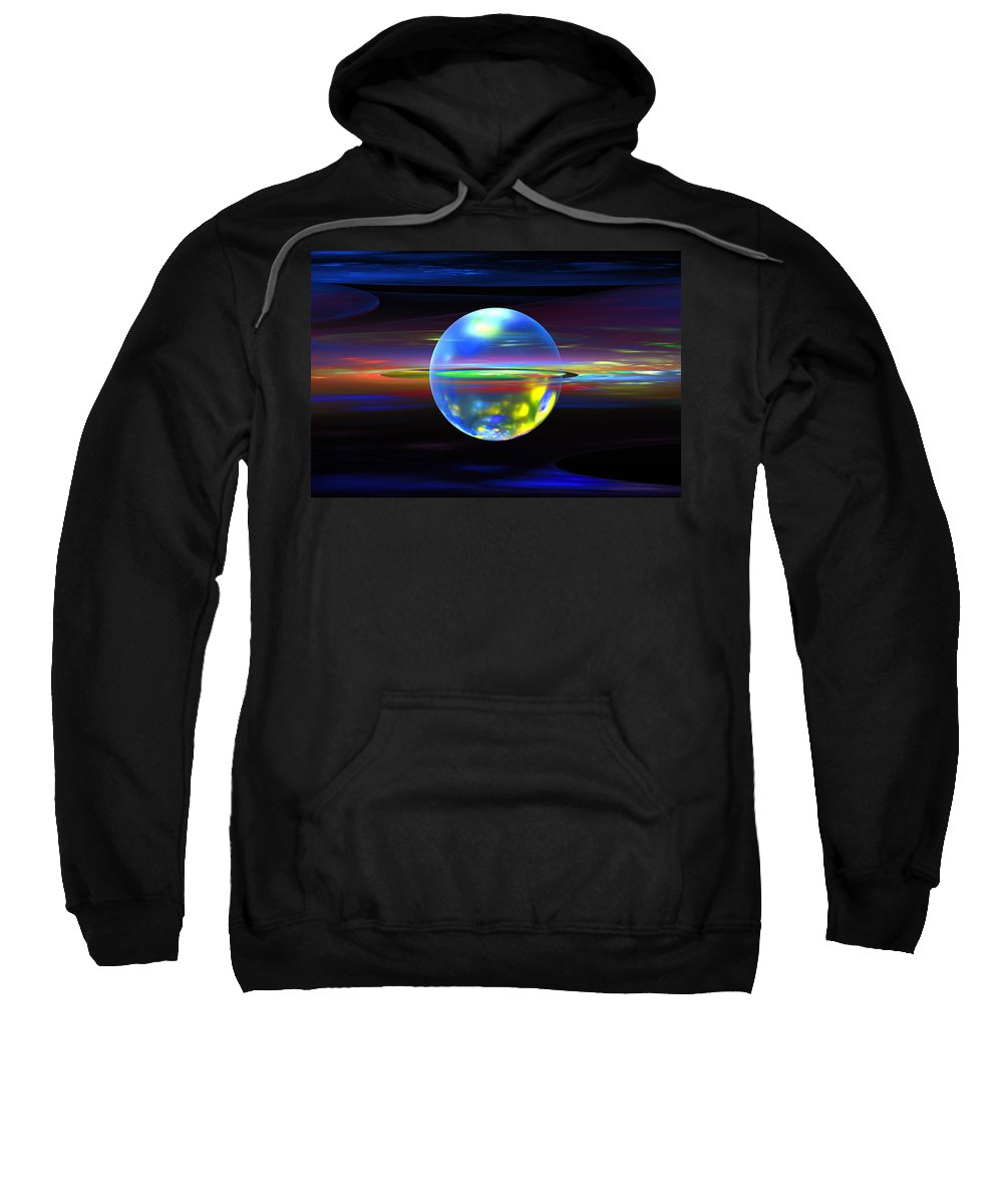 Blue Sweatshirt featuring the photograph Computer Generated Sphere Abstract Fractal Flame Modern Art by Keith Webber Jr
