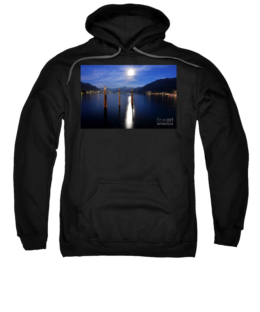 Moon Sweatshirt featuring the photograph Moon Light Over An Alpine Lake by Mats Silvan