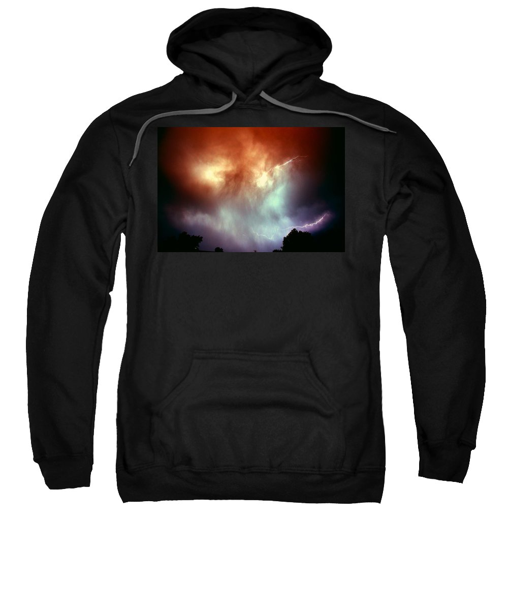 Stormscape Sweatshirt featuring the photograph Rounds 2 3 Late Night Nebraska Storms by NebraskaSC