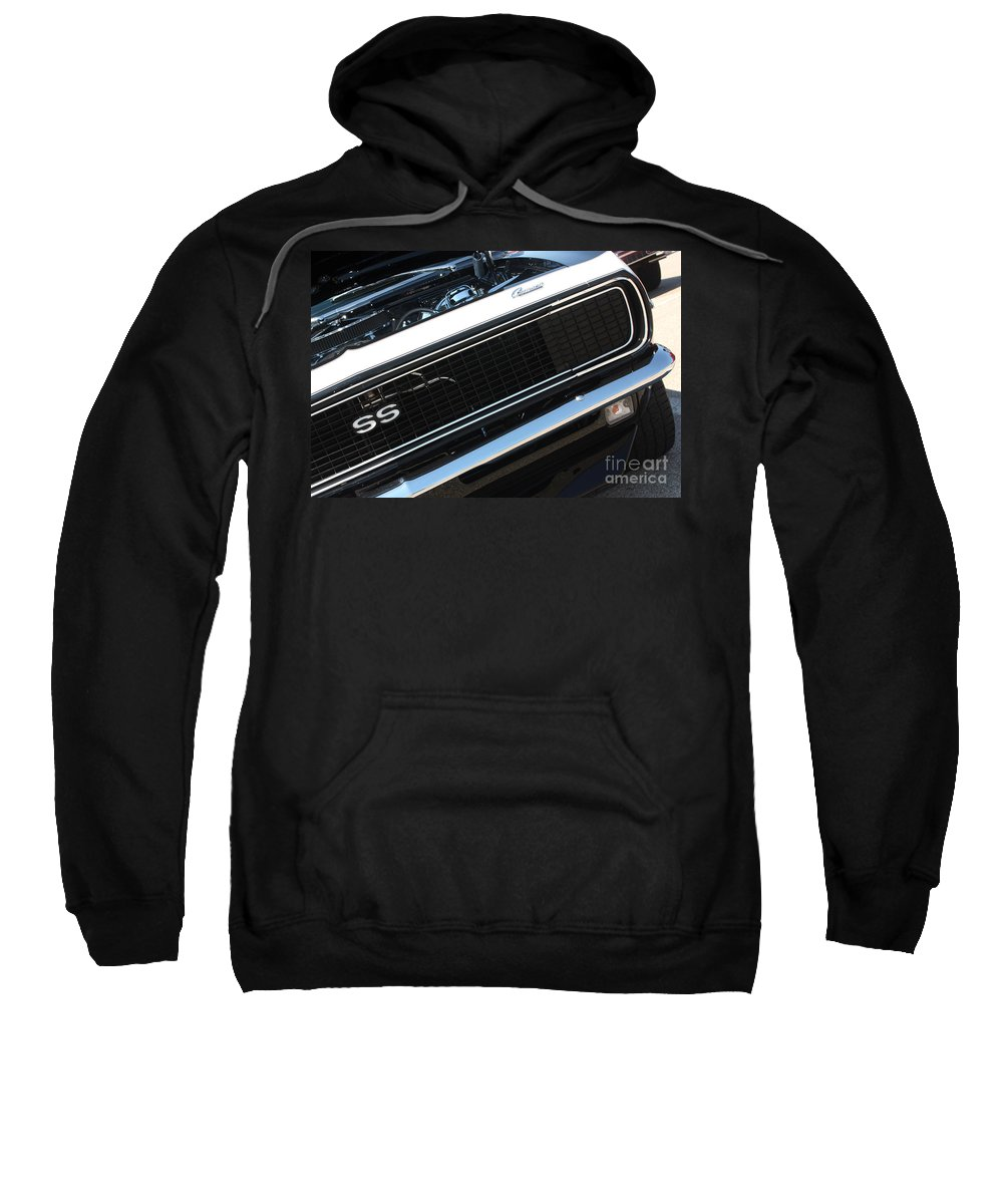 1967 Sweatshirt featuring the photograph 67 Black Camaro Ss Grill-8039-2 by Gary Gingrich Galleries