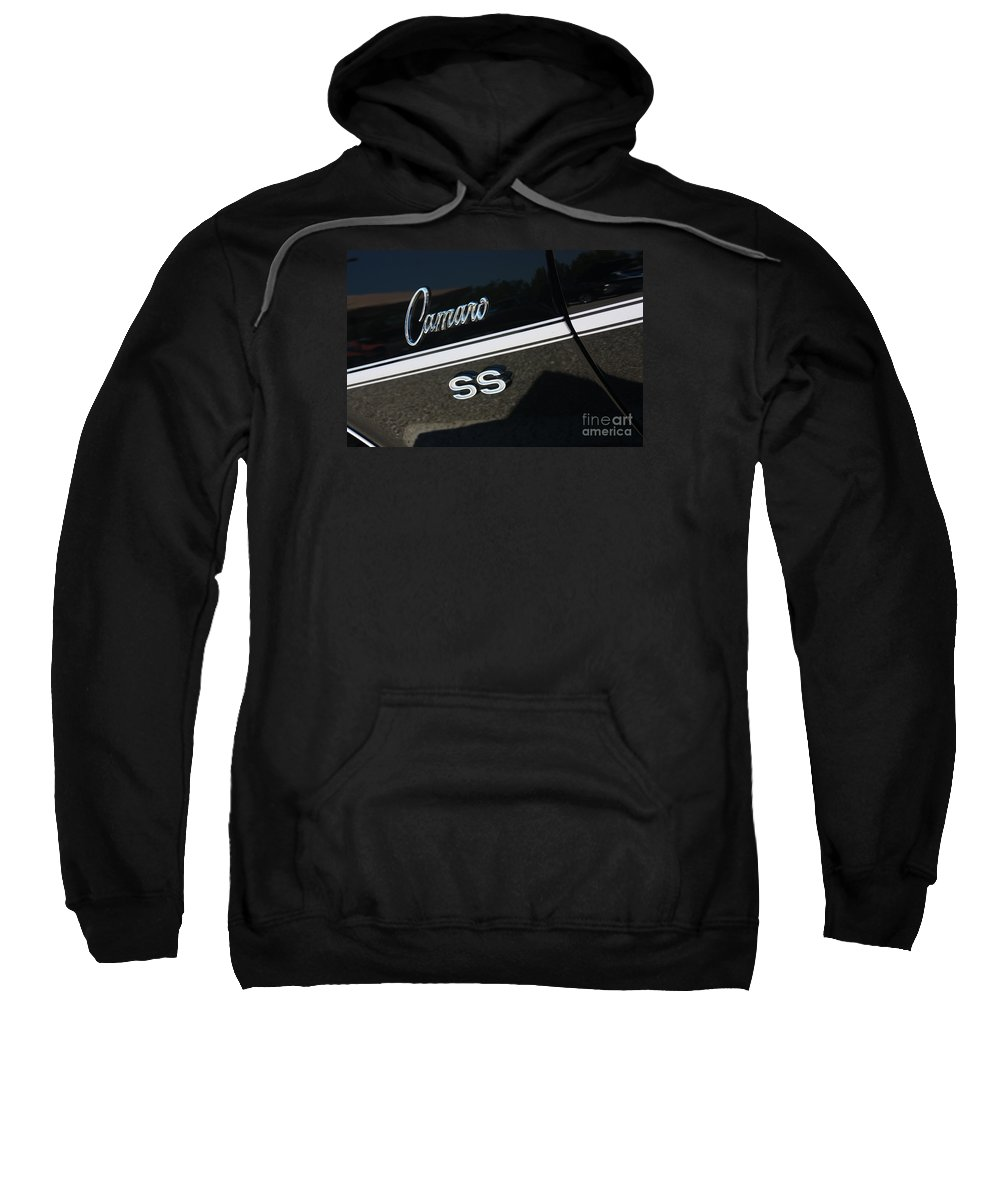 1967 Sweatshirt featuring the photograph 67 Black Camaro Ss Logo-8024 by Gary Gingrich Galleries