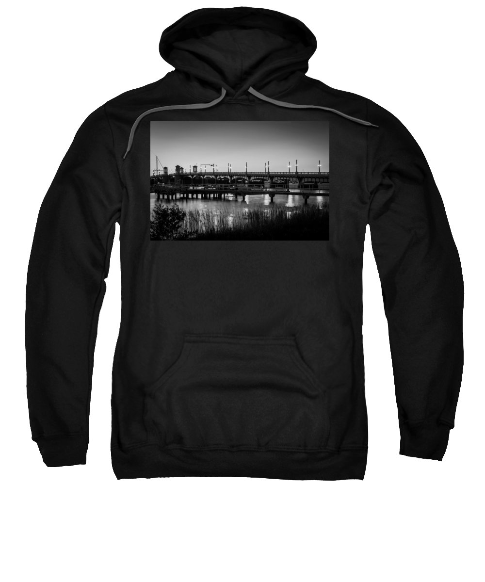 Bridge Of Lions Sweatshirt featuring the photograph Bridge Of Lions St Augustine Florida Painted Bw by Rich Franco