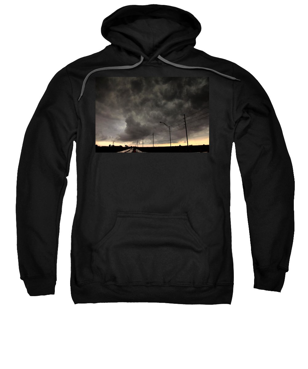 Stormscape Sweatshirt featuring the photograph Severe Warned Nebraska Storm Cells by NebraskaSC