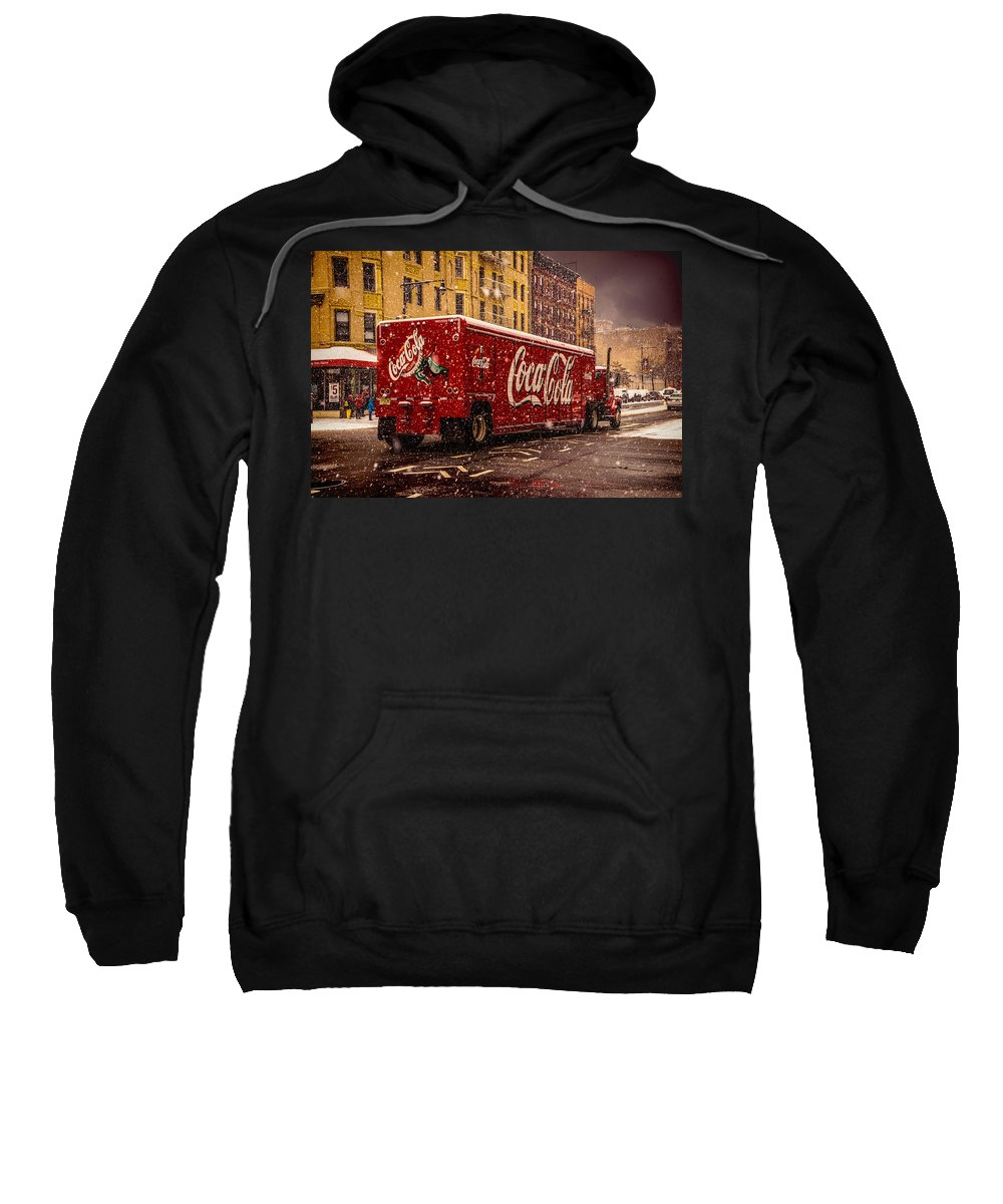 Red Sweatshirt featuring the photograph A Big Red Truck In The Barrio by Chris Lord