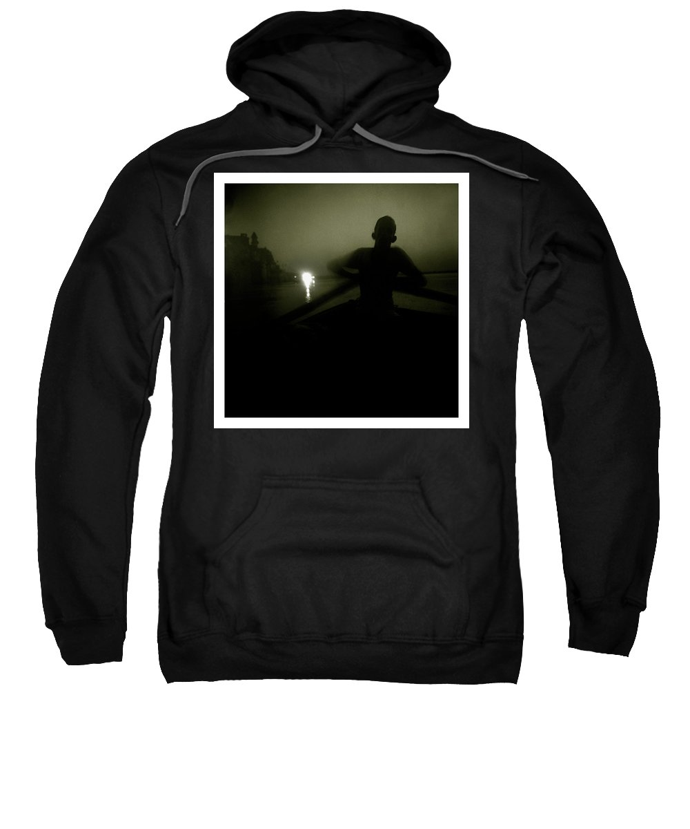 After Life Sweatshirt featuring the photograph A Boatman Rows His Boat Past The Gats by Simon O'Dwyer