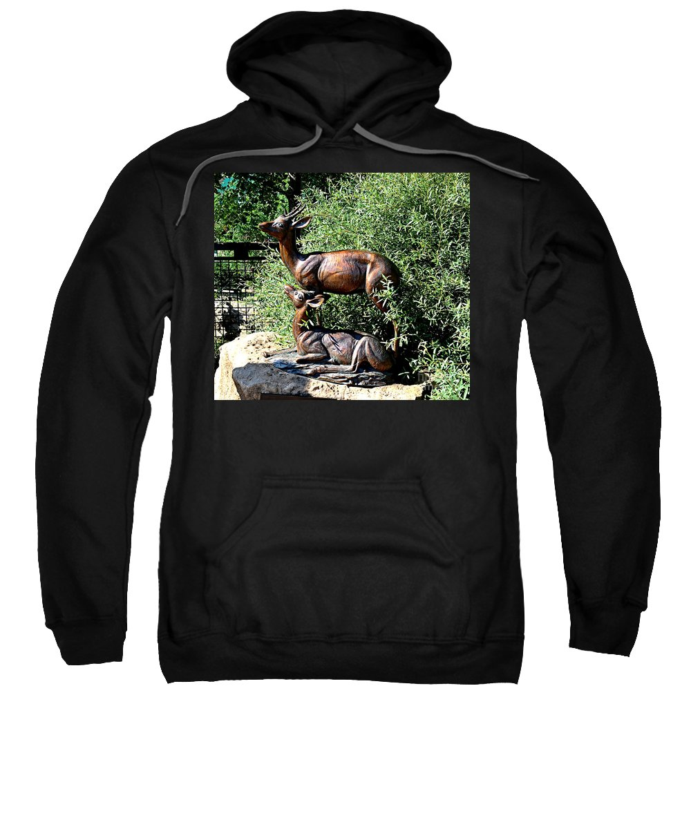 Stand Sweatshirt featuring the photograph A Buck And His Doe by Luther Fine Art