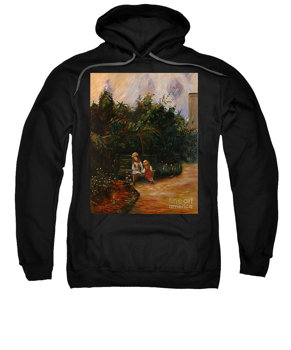 Classic Art Sweatshirt featuring the painting A Corner Of The Garden At The Hermitage by Silvana Abel