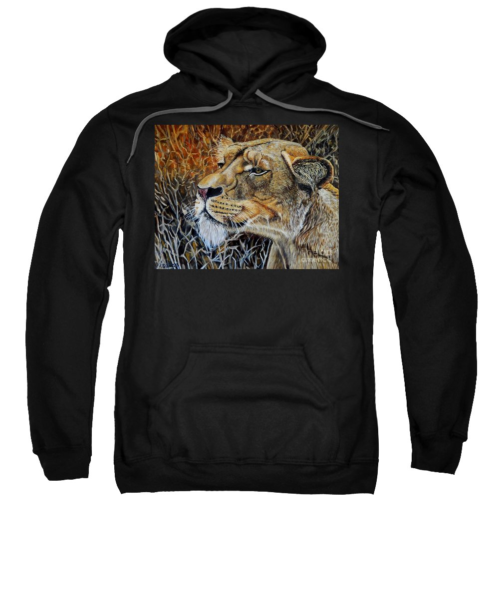 Lion Sweatshirt featuring the painting A Curious Lioness by Caroline Street